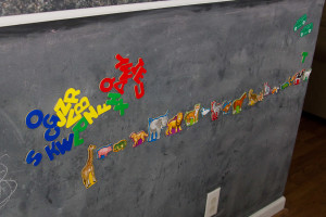 Alphabet/Art/Animals: Our chalk board/magnetic board teaches letters, colors, animals, and art. She loves it.