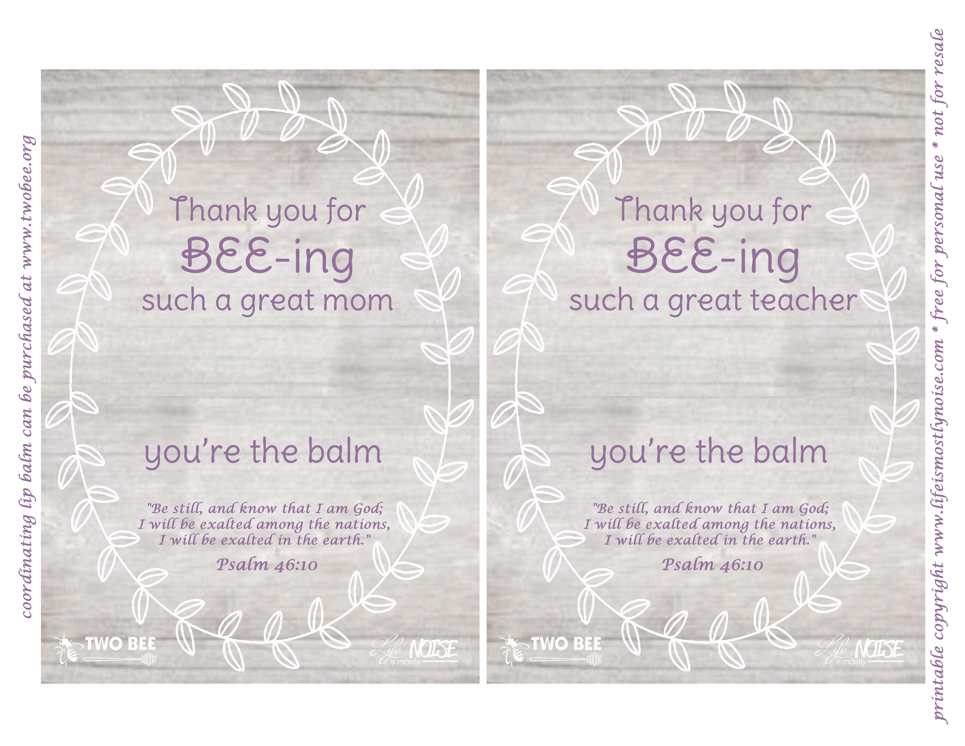 picture relating to You're the Balm Teacher Free Printable named 2 Bee Lip Balm: Trainer/Mom No cost Printable Existence is